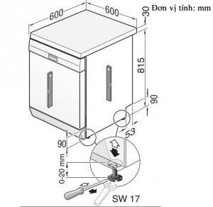 Kích thước lắp đặt máy rửa bát BoschSMS6ZCI49E Seri 6